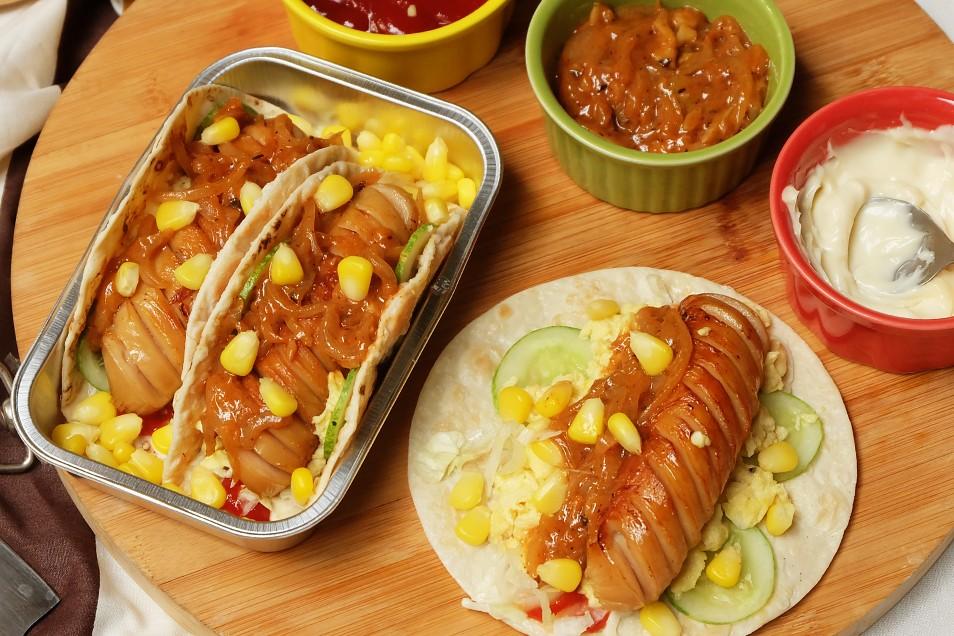 Bratwurst Onion Glazed Tacos